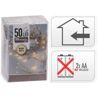 Koopman LED Lichterkette 50 Stück warmweiß für Innen
