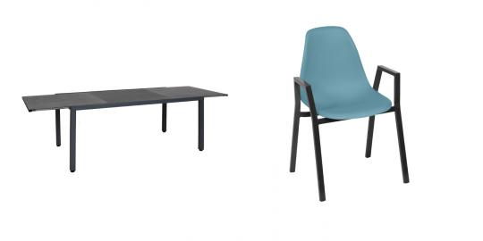 Greemotion Set Tisch Grenada + 6x Stapelstuhl Windsor, petrolfarben