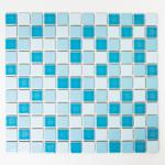Mosaikmatte Quadrat mix blau glänzend