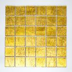 Mosaikmatte Quadrat Crystal uni gold Struktur