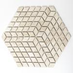 Mosaikmatte Raute Chiaro Travertin 3D Optik Würfel